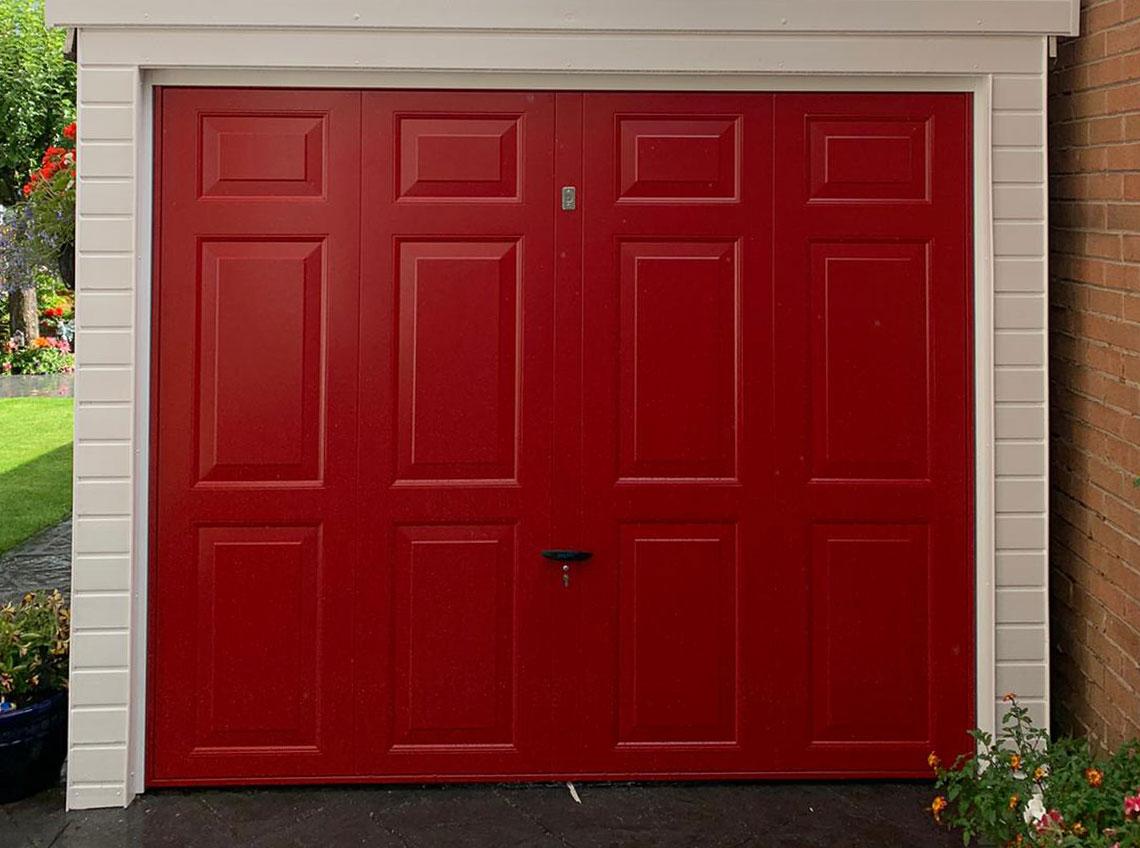 Red garage door new modern contemporary Wakefield