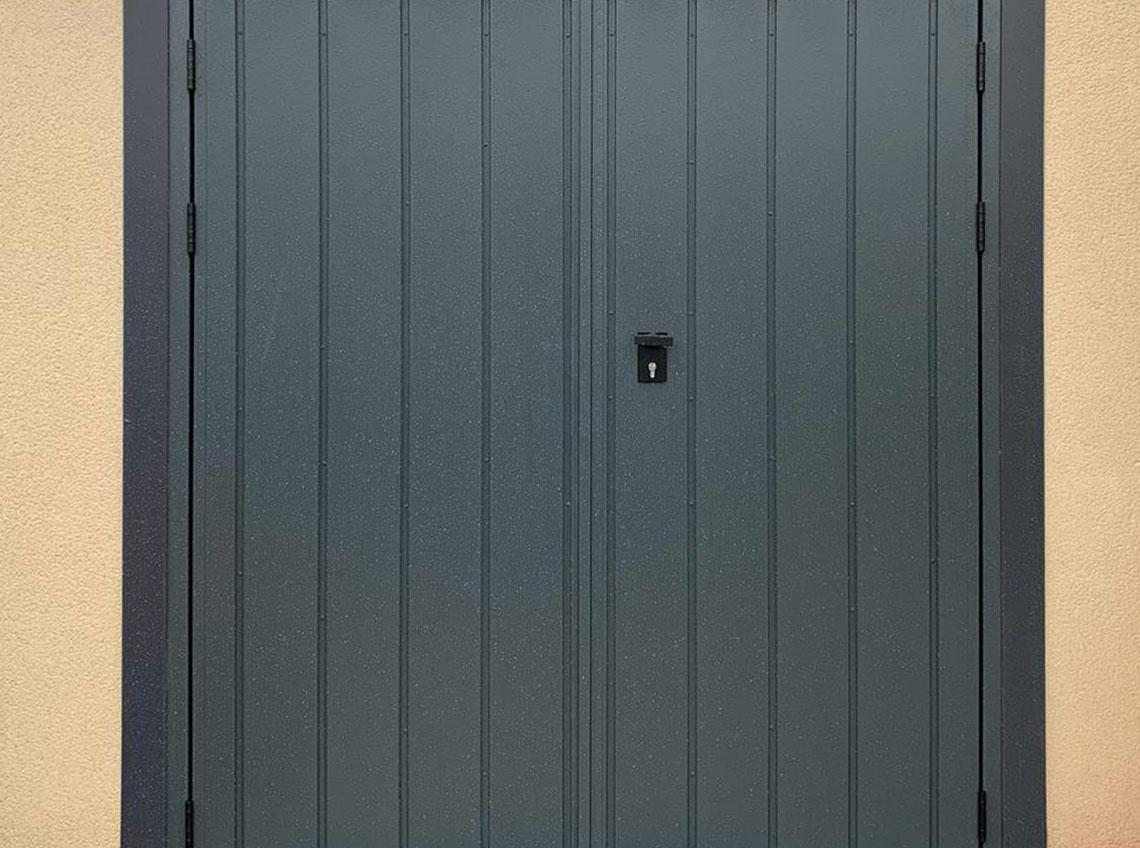 Black dark grey garage door modern contemporary Leeds