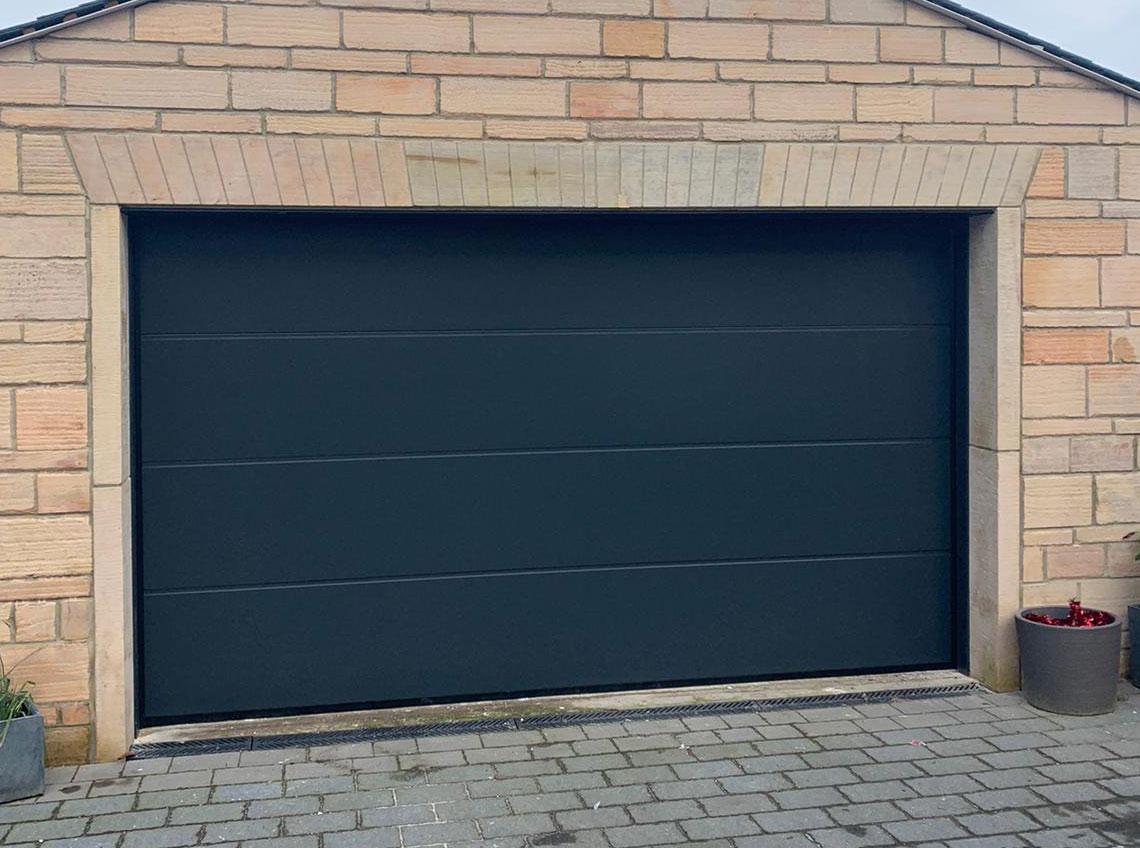 Black garage door modern contemporary new Pontefract