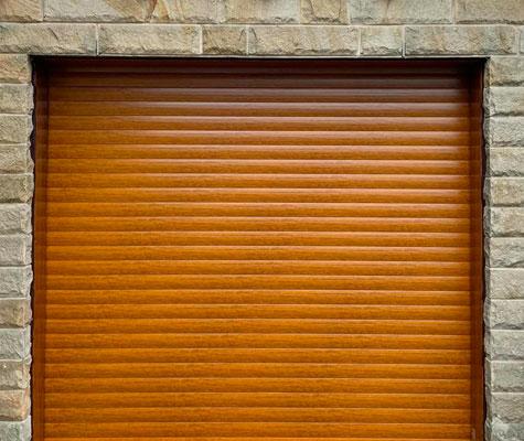 Brown garage door new modern contemporary brick Wakefield