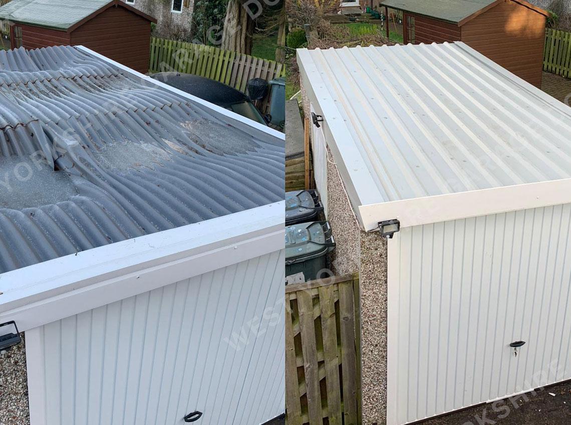 White corrugated garage roof new Pontefract