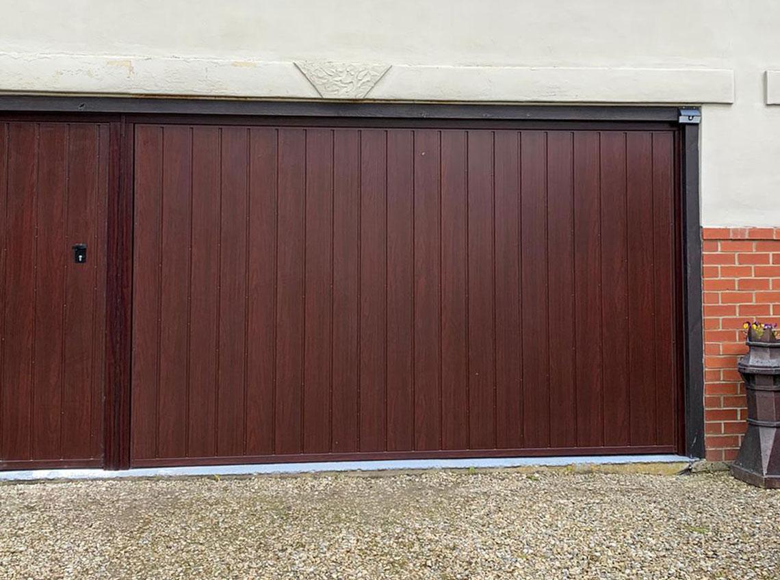 Brown Mahogany garage door new modern contemporary Pontefract